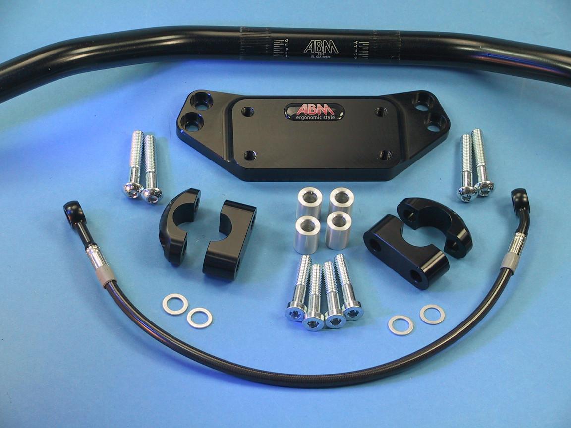 Superbike horquilla puentes adaptador para Kawasaki GPZ 900-R a partir de/'90 negro anodizado